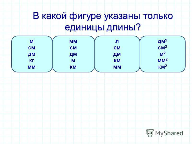 В какой фигуре указаны только единицы длины? мм см дм м км м см дм кг мм л см дм км мм дм 2 см 2 м 2 мм 2 км 2