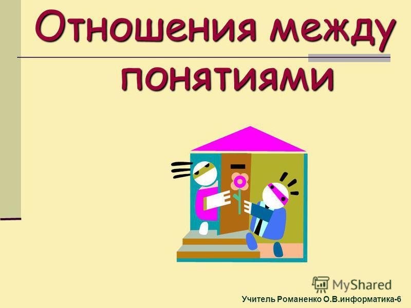 Учитель Романенко О.В.информатика-6 Отношения между понятиями