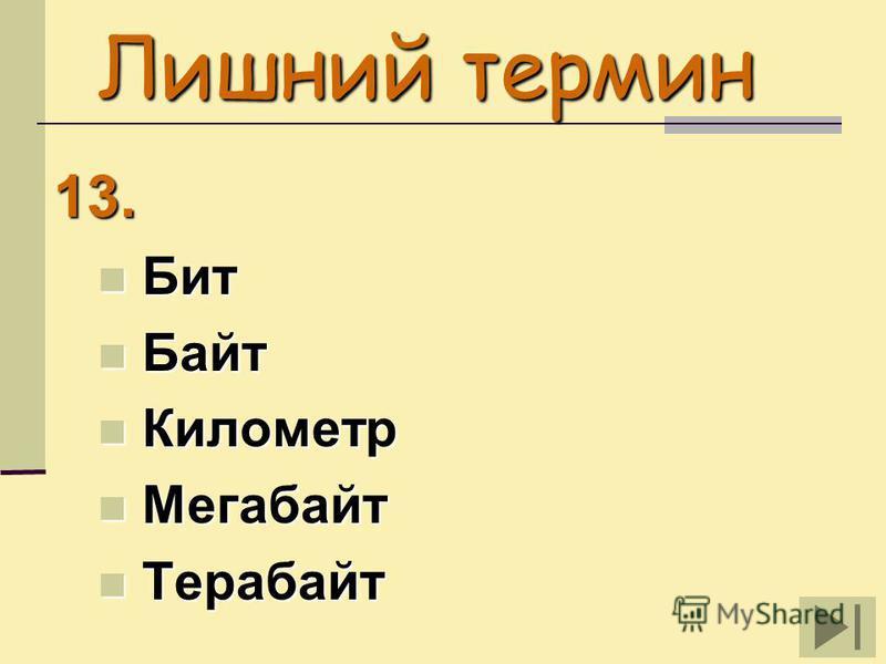Лишний термин 13. Бит Бит Байт Байт Километр Километр Мегабайт Мегабайт Терабайт Терабайт