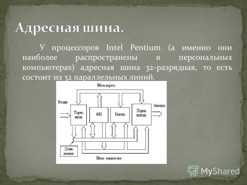 У процессоров Intel Pentium (а именно они наиболее распространены в персональных компьютерах) адресная шина 32-разрядная, то есть состоит из 32 параллельных линий.