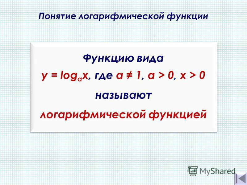 Понятие логарифмической функции. Функцию вида y = log a х, где а 1, a > 0, х > 0 называют логарифмической функцией Функцию вида y = log a х, где а 1, a > 0, х > 0 называют логарифмической функцией