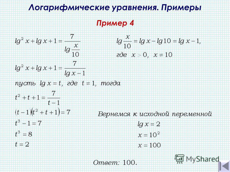 Пример 4 Логарифмические уравнения. Примеры Ответ: 100.