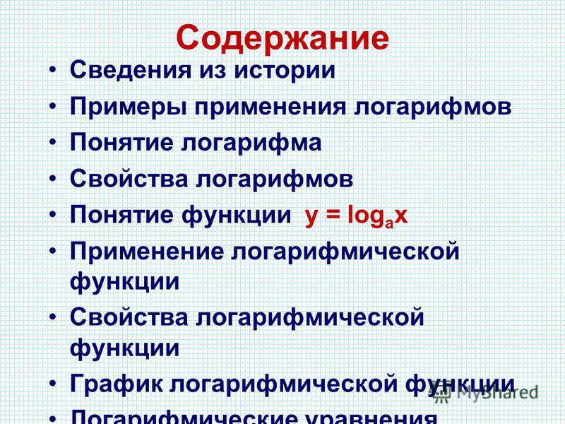 Содержание Сведения из истории Примеры применения логарифмов Понятие логарифма Свойства логарифмов Понятие функции у = log a x Применение логарифмической функции Свойства логарифмической функции График логарифмической функции Логарифмические уравнени