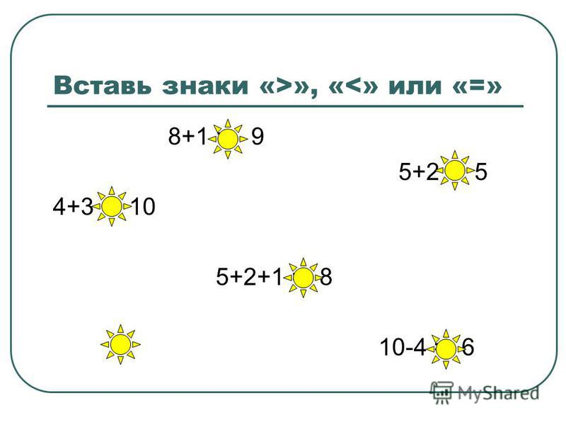 Вставь знаки «>», «<» или «=» 8+1 = 9 5+2 > 5 4+3 < 10 5+2+1 = 8 10-4 = 6