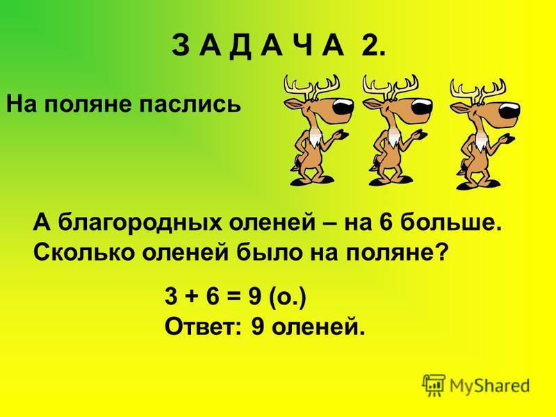 З А Д А Ч А 2. На поляне паслись А благородных оленей – на 6 больше. Сколько оленей было на поляне? 3 + 6 = 9 (о.) Ответ: 9 оленей.