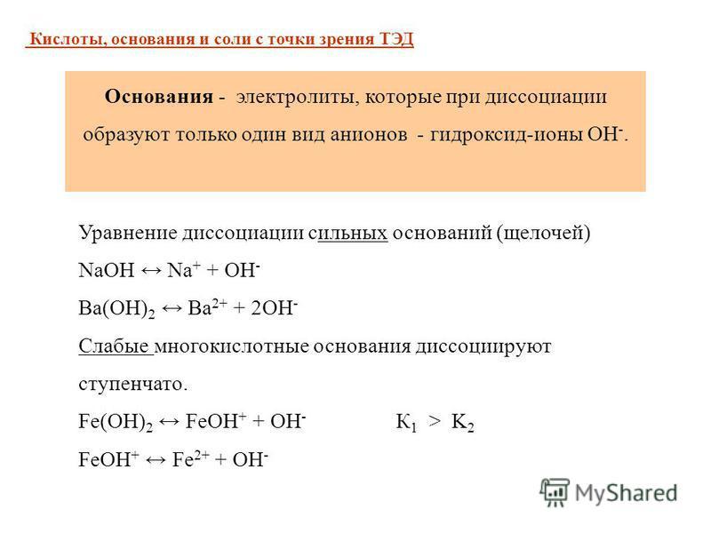 Уравнение диссоциации сильных оснований (щелочей) NaOH Na + + OH - Ba(OH) 2 Ba 2+ + 2OH - Слабые многокислотные основания диссоциируют ступенчато. Fe(OH) 2 FeOH + + OH - К 1 > K 2 FeOH + Fe 2+ + OH - Основания - электролиты, которые при диссоциации о