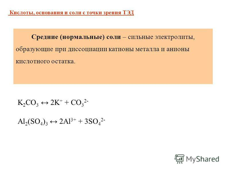 K 2 CO 3 2K + + CO 3 2- Al 2 (SO 4 ) 3 2Al 3+ + 3SO 4 2- Средние (нормальные) соли – сильные электролиты, образующие при диссоциации катионы металла и анионы кислотного остатка. Кислоты, основания и соли с точки зрения ТЭД