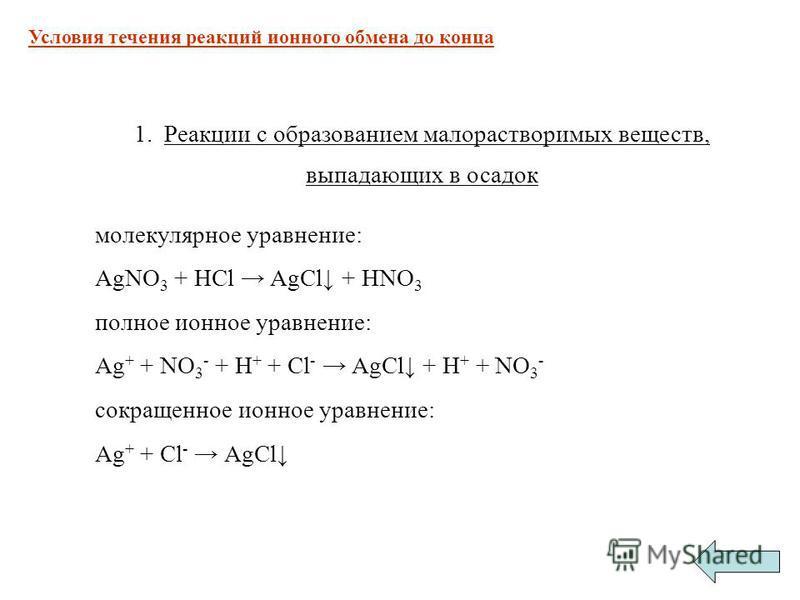 1. Реакции с образованием малорастворимых веществ, выпадающих в осадок молекулярное уравнение: AgNO 3 + HCl AgCl + HNO 3 полное ионное уравнение: Ag + + NO 3 - + H + + Cl - AgCl + H + + NO 3 - сокращенное ионное уравнение: Ag + + Cl - AgCl Условия те