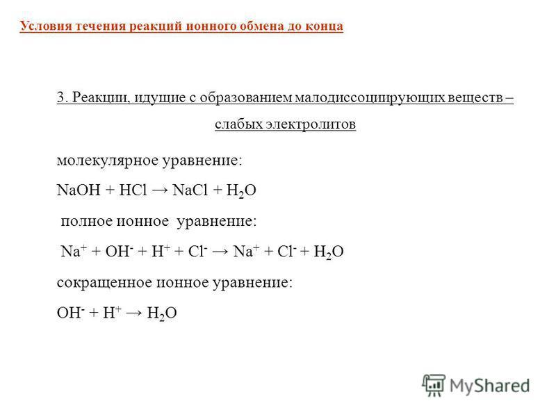 3. Реакции, идущие с образованием малодиссоциирующих веществ – слабых электролитов молекулярное уравнение: NaOH + HCl NaCl + H 2 O полное ионное уравнение: Na + + OH - + H + + Cl - Na + + Cl - + H 2 O сокращенное ионное уравнение: OH - + H + H 2 O Ус