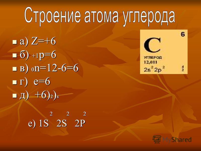 а) Z=+6 а) Z=+6 б) +1 р=6 б) +1 р=6 в) 0 n=12-6=6 в) 0 n=12-6=6 г) е=6 г) е=6 д) +6) 2 ) 4 д) +6) 2 ) 4 2 2 2 2 2 2 е) 1S 2S 2P е) 1S 2S 2P