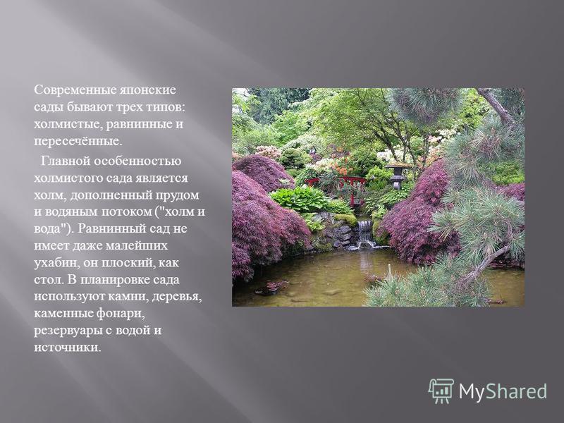 Современные японские сады бывают трех типов : холмистые, равнинные и пересечённые. Главной особенностью холмистого сада является холм, дополненный прудом и водяным потоком (