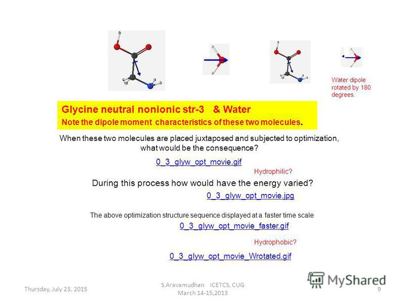 0_3_glyw_opt_movie.gif Glycine neutral nonionic str-3 & Water Note the dipole moment characteristics of these two molecules. When these two molecules are placed juxtaposed and subjected to optimization, what would be the consequence? During this proc