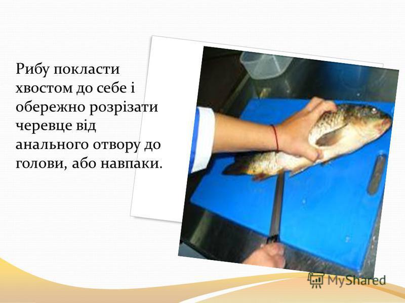 Рибу покласти хвостом до себе і обережно розрізати черевце від анального отвору до голови, або навпаки.