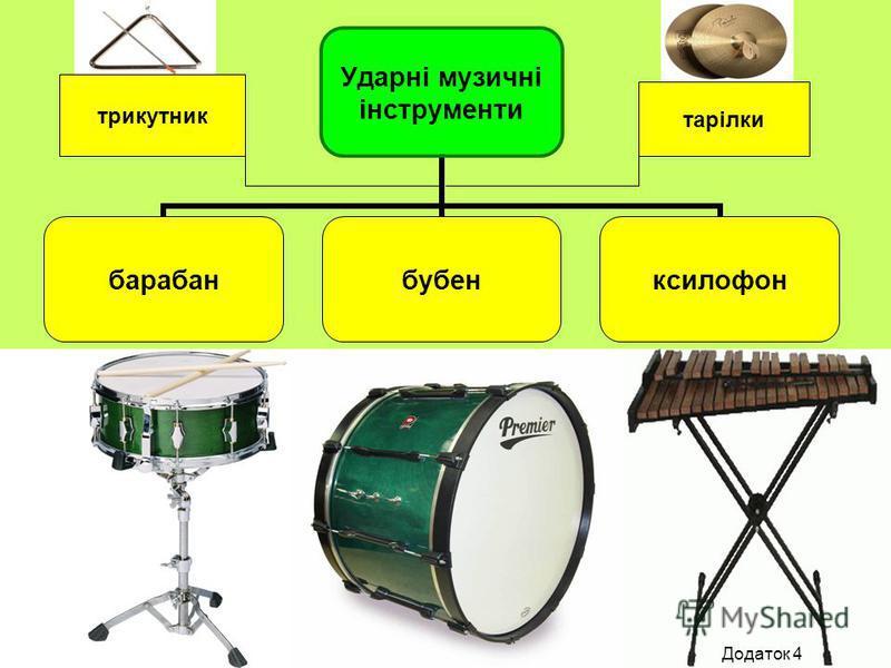 Ударні музичні інструменти барабанбубенксилофон трикутник тарілки Додаток 4