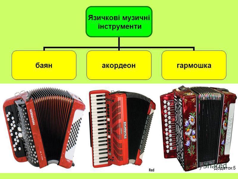Язичкові музичні інструменти баянакордеонгармошка Додаток 5