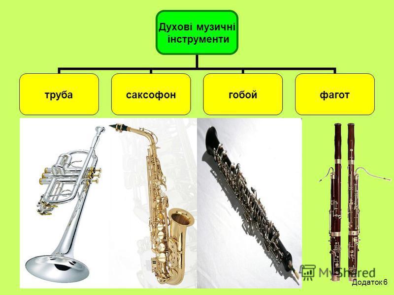 Духові музичні інструменти трубасаксофонгобойфагот Додаток 6