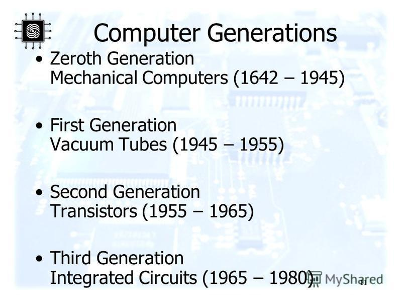 11 Computer Generations Zeroth Generation Mechanical Computers (1642 – 1945) First Generation Vacuum Tubes (1945 – 1955) Second Generation Transistors (1955 – 1965) Third Generation Integrated Circuits (1965 – 1980) Fourth Generation Very Large Scale