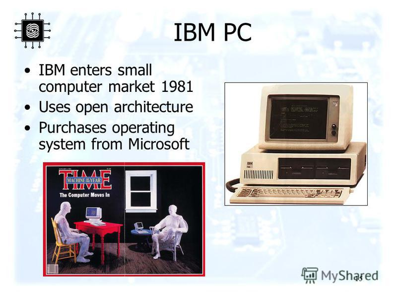 15 IBM PC IBM enters small computer market 1981 Uses open architecture Purchases operating system from Microsoft