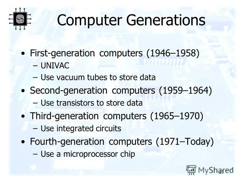 23 Computer Generations First-generation computers (1946–1958) –UNIVAC –Use vacuum tubes to store data Second-generation computers (1959–1964) –Use transistors to store data Third-generation computers (1965–1970) –Use integrated circuits Fourth-gener