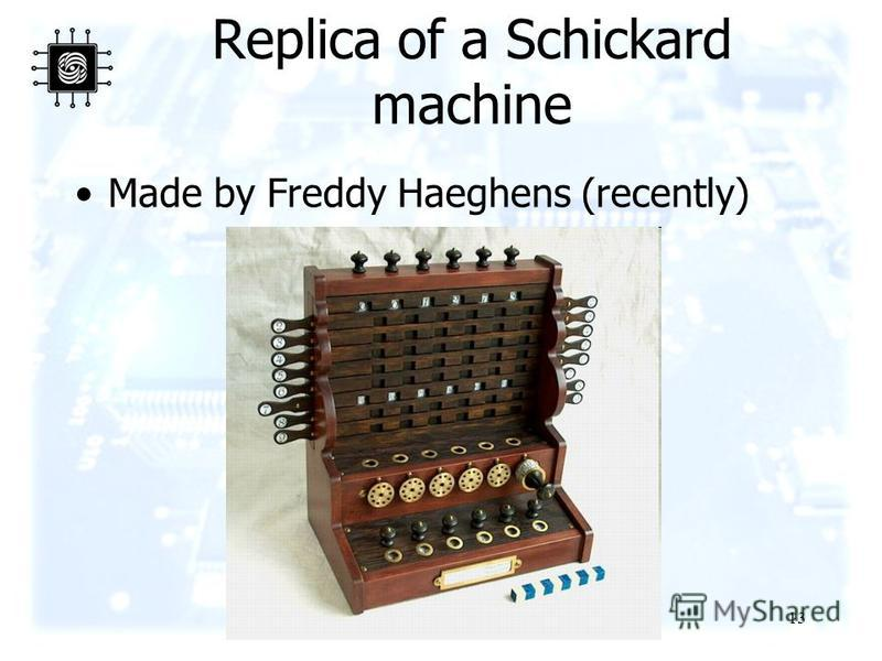 13 Replica of a Schickard machine Made by Freddy Haeghens (recently)