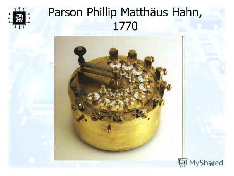 18 Parson Phillip Matthäus Hahn, 1770