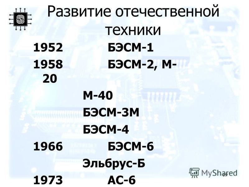19 Развитие отечественной техники 1952БЭСМ-1 1958БЭСМ-2, М- 20 М-40 БЭСМ-3М БЭСМ-4 1966БЭСМ-6 Эльбрус-Б 1973АС-6