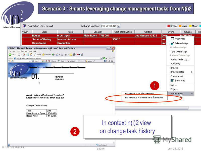 © N(I) 2 Confidential July 23, 2015 page 6 Scenario 3 : Smarts leveraging change management tasks from N(i)2 In context n(i)2 view on change task history In context n(i)2 view on change task history 1 2