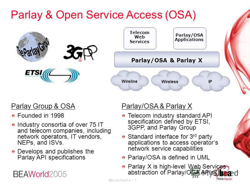 BEA Confidential | 7 Parlay & Open Service Access (OSA) Parlay/OSA & Parlay X Telecom Web Services Parlay/OSA Applications Wireline WirelessIP Parlay Group & OSA Founded in 1998 Industry consortia of over 75 IT and telecom companies, including networ