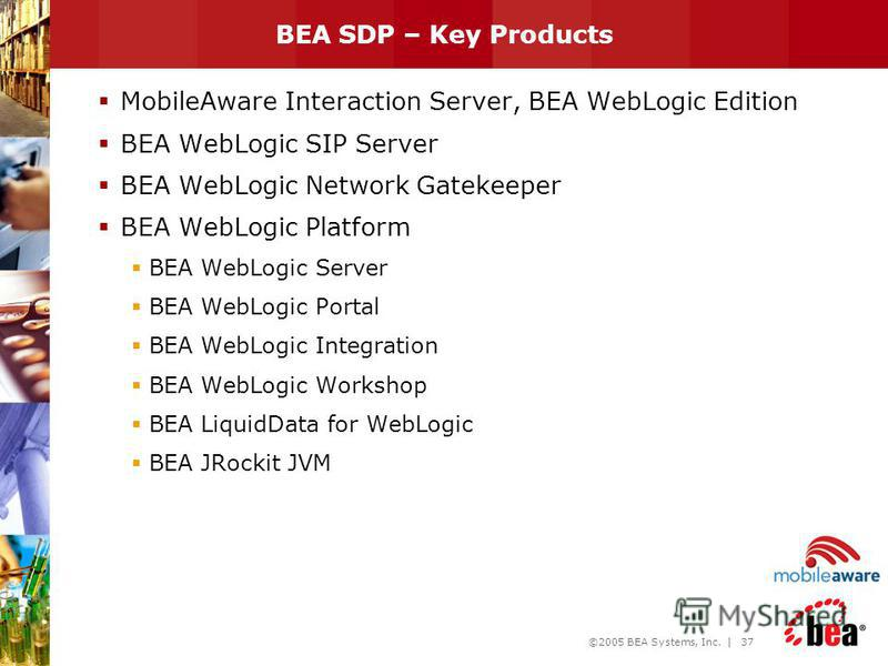 ©2005 BEA Systems, Inc. | 36 BEA WebLogic Service Delivery Solution Framework – BEA Products Targeted Services Service Execution Network, Content/3 rd Party Services, OSS/BSS Service Creation OSS/BSS Integration Tools IT / Product Tools Network Tools