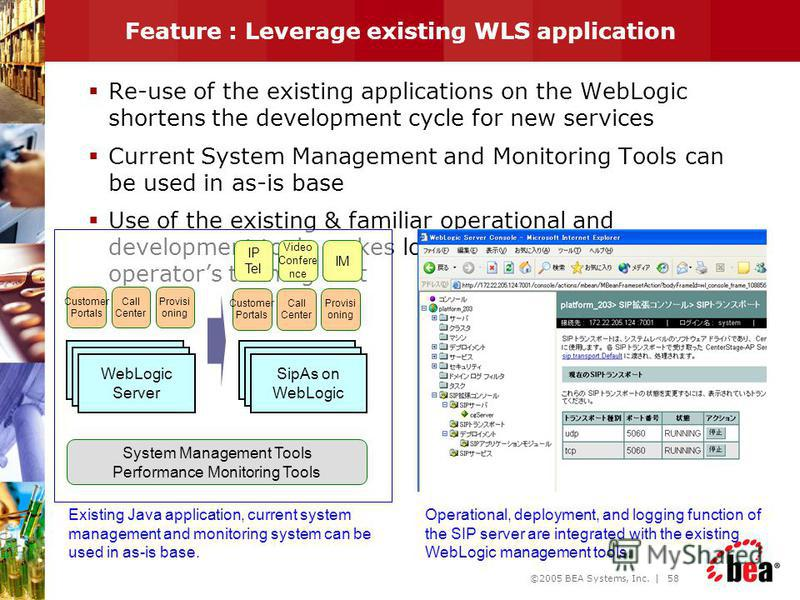 ©2005 BEA Systems, Inc. | 57 Benefits of SipAs on WebLogic High Performance Share session information between SIP and J2EE in same process Scalability Leverage existing WLS application Seamless upgrade to WLP and WLI High Availability Clustering with