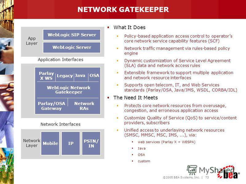 ©2005 BEA Systems, Inc. | 72 BEA WebLogic Network Gatekeeper Primary purpose is to protect network resources in the presence of 3rd party applications Need exists to monitor and manage 3rd party access to network Allows for management of 3rd party se