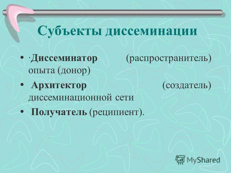 Субъекты диссеминации ·Диссеминатор (распространитель) опыта (донор) Архитектор (создатель) диссеминационной сети Получатель (реципиент).