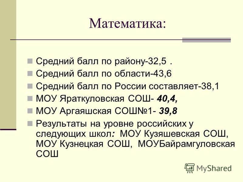 Математика: Средний балл по району-32,5. Средний балл по области-43,6 Средний балл по России составляет-38,1 МОУ Яраткуловская СОШ- 40,4, МОУ Аргаяшская СОШ1- 39,8 Результаты на уровне российских у следующих школ: МОУ Кузяшевская СОШ, МОУ Кузнецкая С