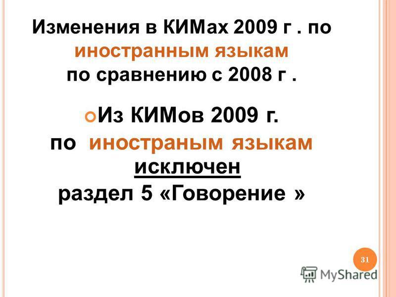 31 Изменения в КИМах 2009 г. по иностранным языкам по сравнению с 2008 г. Из КИМов 2009 г. по иностраным языкам исключен раздел 5 «Говорение »