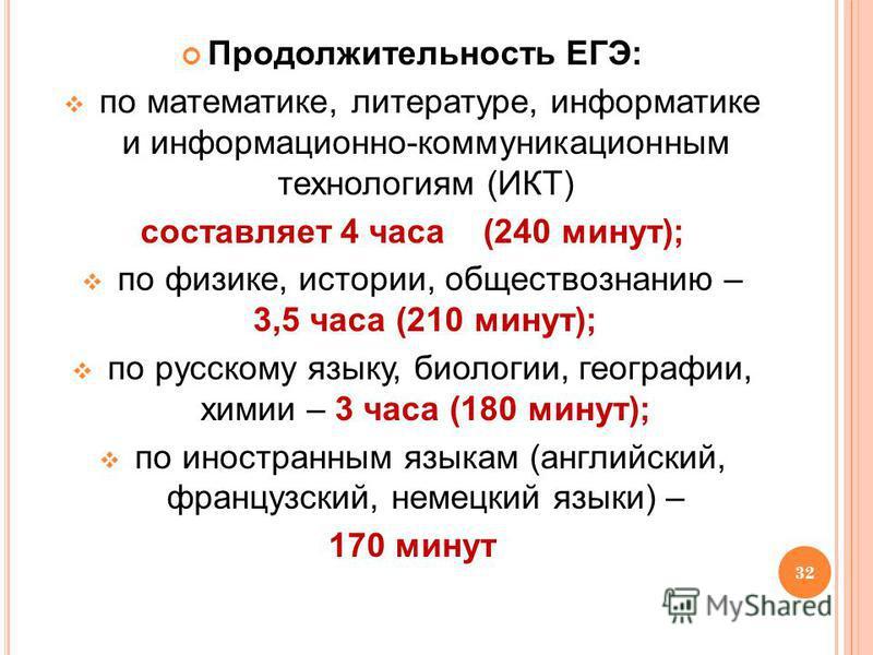 32 Продолжительность ЕГЭ: по математике, литературе, информатике и информационно-коммуникационным технологиям (ИКТ) составляет 4 часа (240 минут); по физике, истории, обществознанию – 3,5 часа (210 минут); по русскому языку, биологии, географии, хими