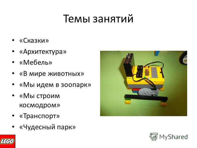 Темы занятий «Сказки» «Архитектура» «Мебель» «В мире животных» «Мы идем в зоопарк» «Мы строим космодром» «Транспорт» «Чудесный парк»