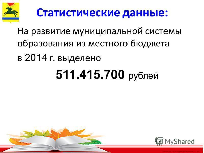 6 Статистические данные: На развитие муниципальной системы образования из местного бюджета в 2014 г. выделено 511.415.700 рублей