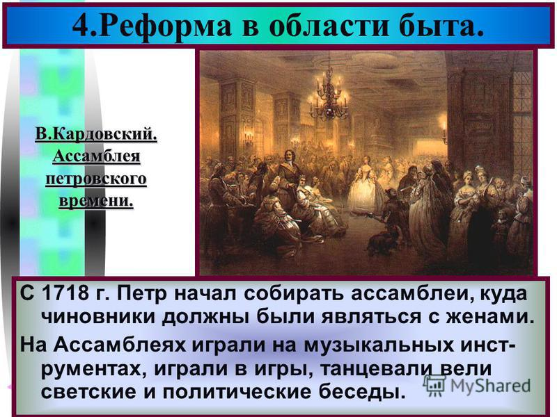 Меню С 1718 г. Петр начал собирать ассамблеи, куда чиновники должны были являться с женами. На Ассамблеях играли на музыкальных инструментах, играли в игры, танцевали вели светские и политические беседы. 4. Реформа в области быта. В.Кардовский.Ассамб