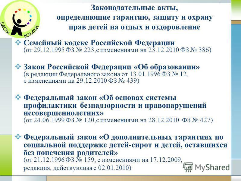 Company Logo www.themegallery.com Законодательные акты, определяющие гарантию, защиту и охрану прав детей на отдых и оздоровление Семейный кодекс Российской Федерации (от 29.12.1995 ФЗ 223,с изменениями на 23.12.2010 ФЗ 386) Закон Российской Федераци