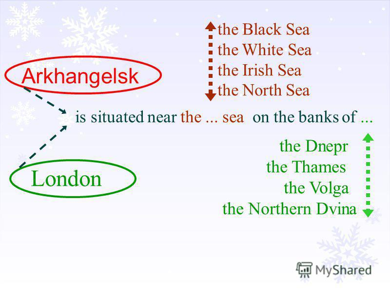 Arkhangelsk London is situated near the... sea on the banks of... the Black Sea the White Sea the Irish Sea the North Sea the Dnepr the Thames the Volga the Northern Dvina