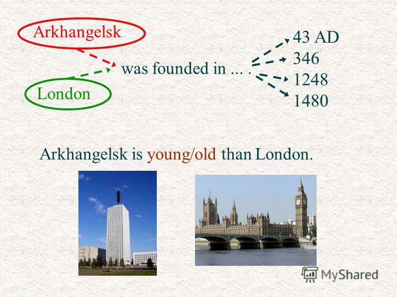 Arkhangelsk London was founded in.... 43 AD 346 1248 1480 Arkhangelsk is young/old than London.