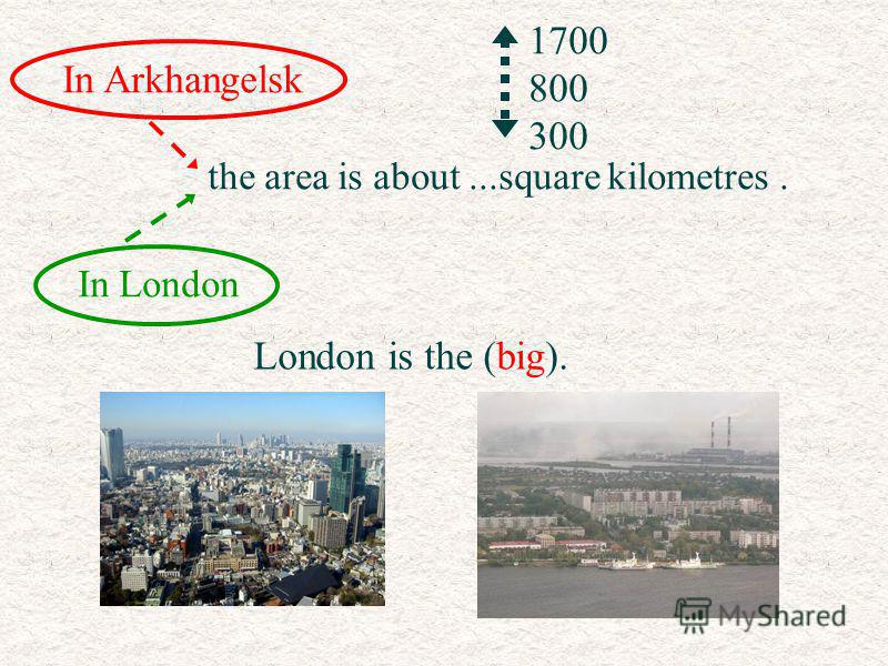 In Arkhangelsk In London the area is about...square kilometres. 1700 800 300 London is the (big)..