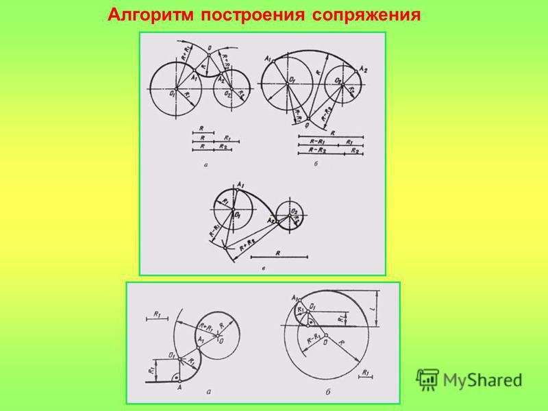 Практическая работа Чертёж Задача: 2 урока: Построить сопряжение окружностей