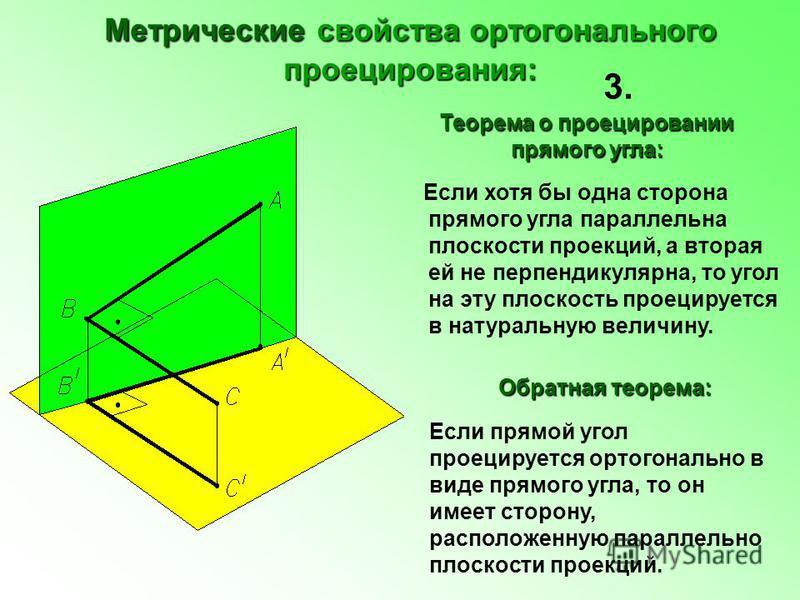 Метрические свойства ортогонального проецирования: Если хотя бы одна сторона прямого угла параллельна плоскости проекций, а вторая ей не перпендикулярна, то угол на эту плоскость проецируется в натуральную величину. 3. Если прямой угол проецируется о