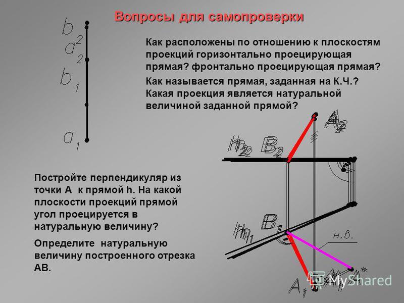 Вопросы для самопроверки Как расположены по отношению к плоскостям проекций горизонтально проецирующая прямая? фронтально проецирующая прямая? Как называется прямая, заданная на К.Ч.? Какая проекция является натуральной величиной заданной прямой? Пос