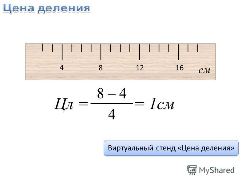 4 8 12 16 см Цл = = 1 см 8 – 4 4 Виртуальный стенд «Цена деления»