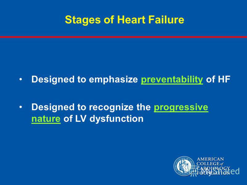 Stages of Heart Failure Designed to emphasize preventability of HF Designed to recognize the progressive nature of LV dysfunction