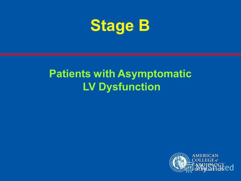 Stage B Patients with Asymptomatic LV Dysfunction