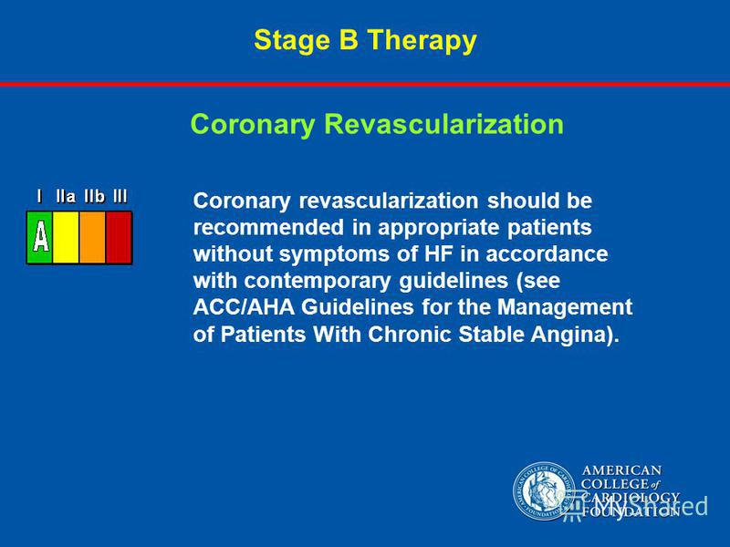 Stage B Therapy Coronary revascularization should be recommended in appropriate patients without symptoms of HF in accordance with contemporary guidelines (see ACC/AHA Guidelines for the Management of Patients With Chronic Stable Angina). Coronary Re
