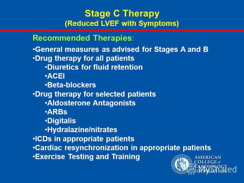 Recommended Therapies: General measures as advised for Stages A and B Drug therapy for all patients Diuretics for fluid retention ACEI Beta-blockers Drug therapy for selected patients Aldosterone Antagonists ARBs Digitalis Hydralazine/nitrates ICDs i
